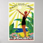 French Riviera Cote D'Azur Vintage Travel Poster