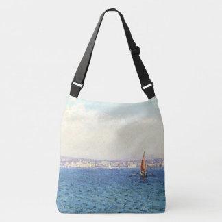 French Riviera Sailboats Coast Shoulder Tote Bag
