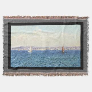 French Riviera Sailboats Coast Throw Blanket