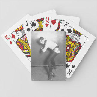 French roller-skater in silver hotpants! poker deck