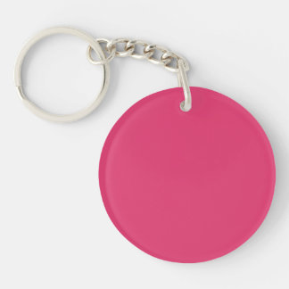French Rose Pink Personalized Color Background Single-Sided Round Acrylic Keychain
