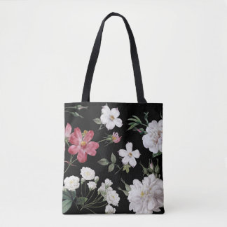 French roses black tote bag