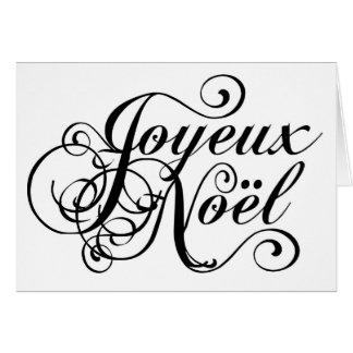 French Script Christmas Joyeux Noel Greeting Cards