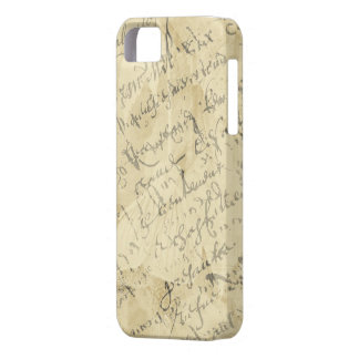 French script on tan case for the iPhone 5