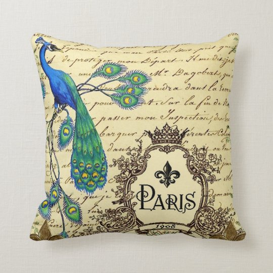 French Script Peacock Paris Decorative Pillow