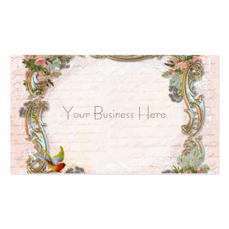 French Script Writing and Scrolls on Pink Business Cards