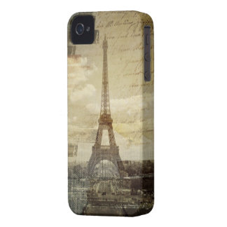 french scripts Modern Vintage Paris Eiffel Tower Case-Mate iPhone 4 Case