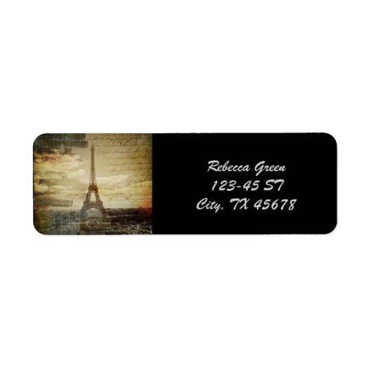 French scripts Modern Vintage Paris Eiffel tower Return Address Label