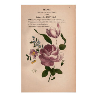 French Shabby Chic Antique Book Page with Flowers Posters