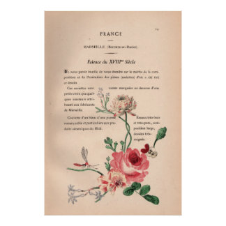 French Shabby Chic Book Plate with Flowers Print