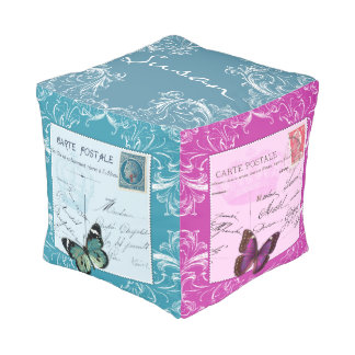 French shabby chic collage handwriting scrolls cube pouf