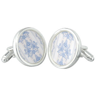 French,shabby chic, vintage,pale blue,white,countr cuff links