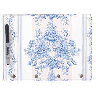 French,shabby chic, vintage,pale blue,white,countr dry erase board with keychain holder