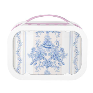 French,shabby chic, vintage,pale blue,white,countr lunch box