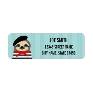French Sloth Blue Return Address Label