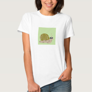 French Snail in Beret saying Bonjour Tee Shirt