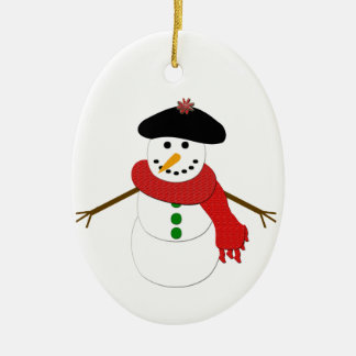 French Snowman Ceramic Ornament
