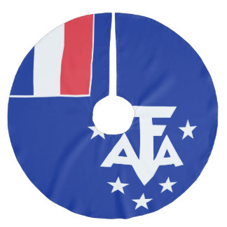 French Southern and Antarctic Lands Flag Brushed Polyester Tree Skirt