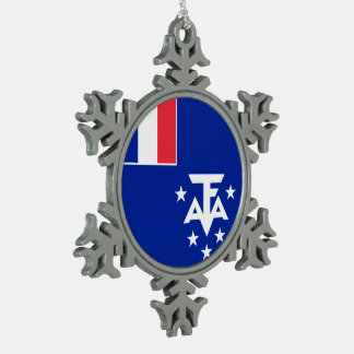 French Southern and Antarctic Lands Flag Pewter Snowflake Ornament
