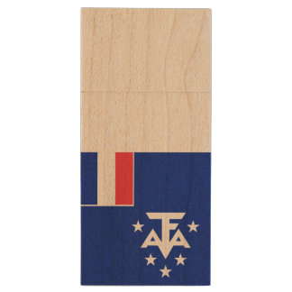 French Southern and Antarctic Lands Flag Wood USB 3.0 Flash Drive
