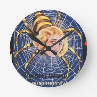 French Spider Girl Round Clock