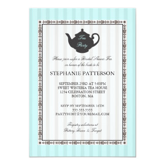 French Stripe Chic Bridal Shower Tea Party Card