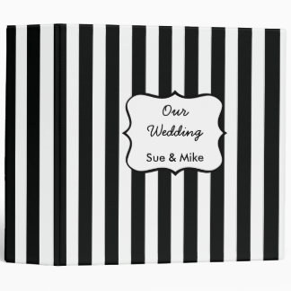 French Stripe Pattern in Black Vinyl Binder