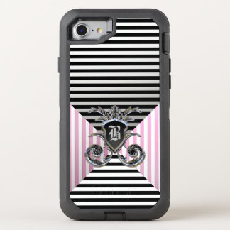 French Stripe Pattern Protective Monogram OtterBox Defender iPhone 7 Case