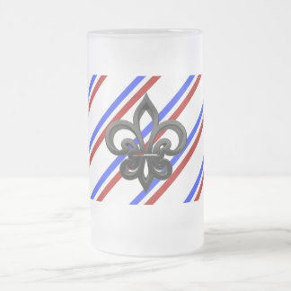 French stripes flag frosted glass beer mug