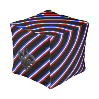 French stripes flag pouf