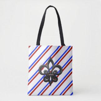 French stripes flag tote bag