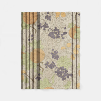 French Style Autumn Grapes Pumpkin Fleece Blanket