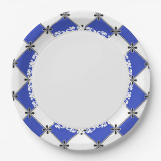 French-Style--Diamond-Blue-Harlequin-Everyday Paper Plate