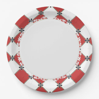 French-Style--Diamond-Red-Harlequin Paper Plate
