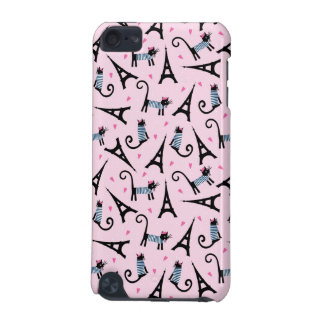 French Style Dressed Cat With Eiffel Tower Pattern iPod Touch (5th Generation) Cover