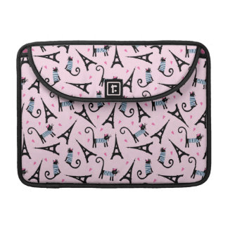 French Style Dressed Cat With Eiffel Tower Pattern MacBook Pro Sleeve