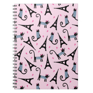 French Style Dressed Cat With Eiffel Tower Pattern Notebook