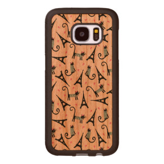 French Style Dressed Cat With Eiffel Tower Pattern Wood Samsung Galaxy S7 Case