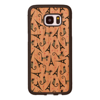 French Style Dressed Cat With Eiffel Tower Pattern Wood Samsung Galaxy S7 Edge Case