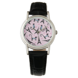 French Style Dressed Cat With Eiffel Tower Pattern Wrist Watches
