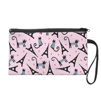 French Style Dressed Cat With Eiffel Tower Pattern Wristlet Purses