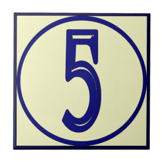 French Style House Numbers 5 Tile