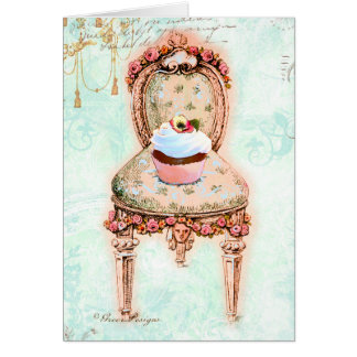 French Tea Party Cupcake Design Card