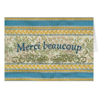 French Thank You, Embroidered Fabric Card