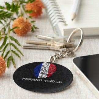 French touch fingerprint flag basic round button keychain