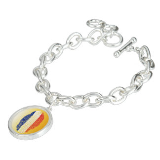 French touch fingerprint flag charm bracelet