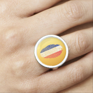French touch fingerprint flag ring