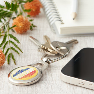 French touch fingerprint flag Silver-Colored oval keychain