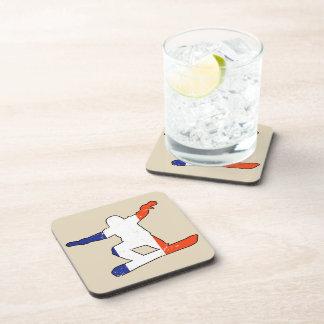 French Tricolor SNOWBOARDER (blk) Coaster