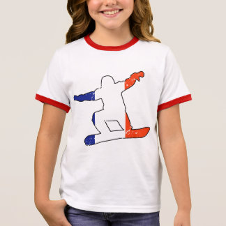 French Tricolor SNOWBOARDER (blk) Ringer T-Shirt